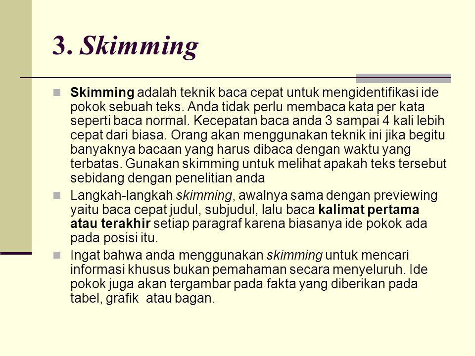 3. Skimming  Skimming adalah teknik baca cepat untuk mengidentifikasi ide pokok sebuah teks. Anda tidak perlu membaca kata per kata seperti baca norm