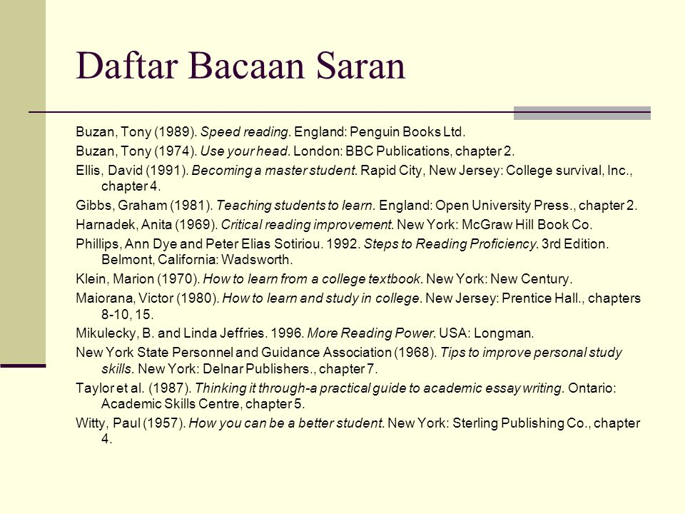 Daftar Bacaan Saran Buzan, Tony (1989). Speed reading. England: Penguin Books Ltd. Buzan, Tony (1974). Use your head. London: BBC Publications, chapte