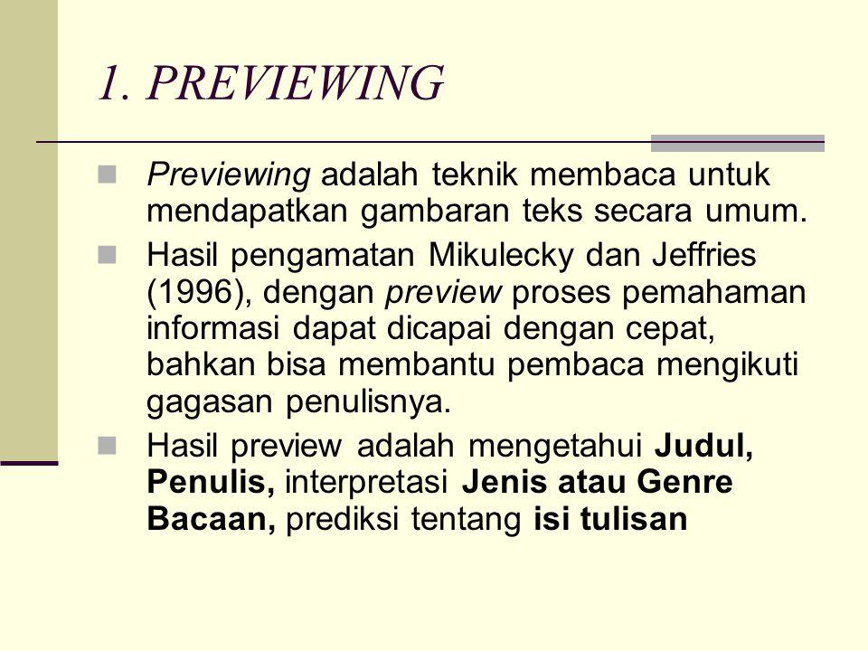 1. PREVIEWING  Previewing adalah teknik membaca untuk mendapatkan gambaran teks secara umum.  Hasil pengamatan Mikulecky dan Jeffries (1996), dengan
