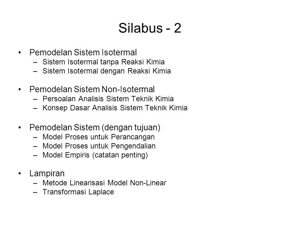 Silabus - 2 •Pemodelan Sistem Isotermal –Sistem Isotermal tanpa Reaksi Kimia –Sistem Isotermal dengan Reaksi Kimia •Pemodelan Sistem Non-Isotermal –Persoalan Analisis Sistem Teknik Kimia –Konsep Dasar Analisis Sistem Teknik Kimia •Pemodelan Sistem (dengan tujuan) –Model Proses untuk Perancangan –Model Proses untuk Pengendalian –Model Empiris (catatan penting) •Lampiran –Metode Linearisasi Model Non-Linear –Transformasi Laplace