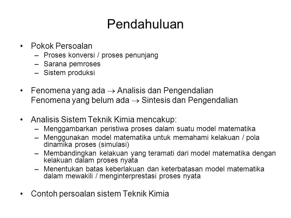 Pendahuluan •Pokok Persoalan –Proses konversi / proses penunjang –Sarana pemroses –Sistem produksi •Fenomena yang ada  Analisis dan Pengendalian Feno