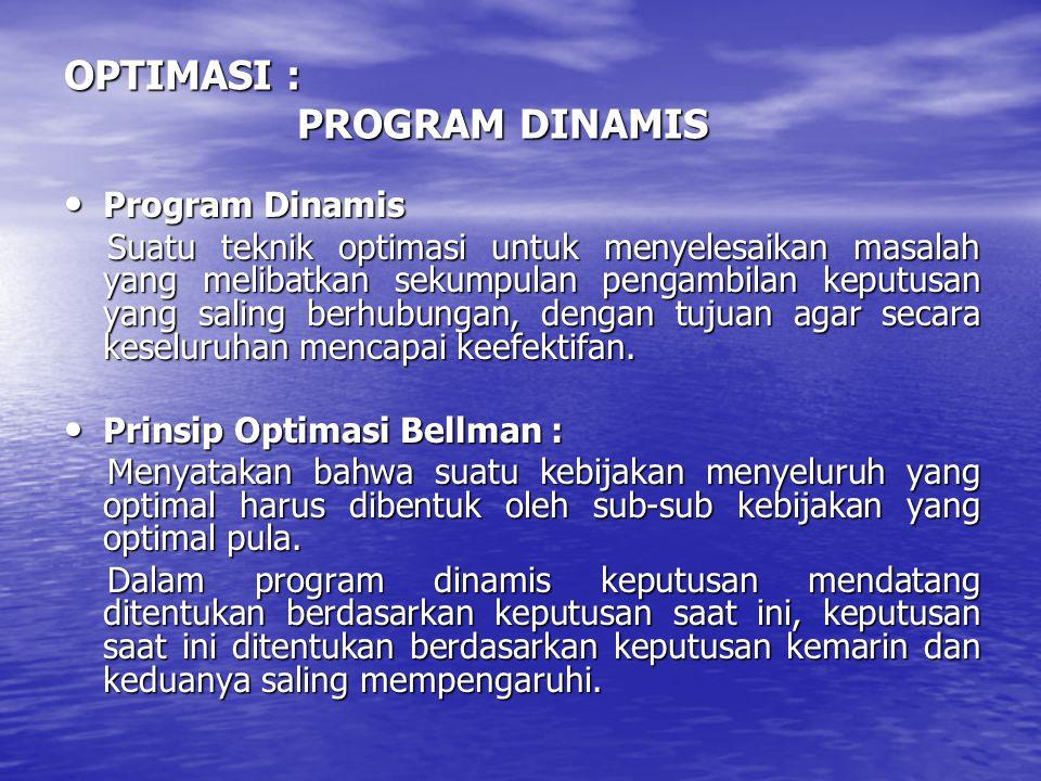 OPTIMASI : PROGRAM DINAMIS • Program Dinamis Suatu teknik optimasi untuk menyelesaikan masalah yang melibatkan sekumpulan pengambilan keputusan yang s