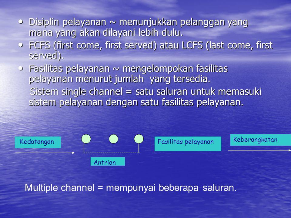 • Disiplin pelayanan ~ menunjukkan pelanggan yang mana yang akan dilayani lebih dulu. • FCFS (first come, first served) atau LCFS (last come, first se
