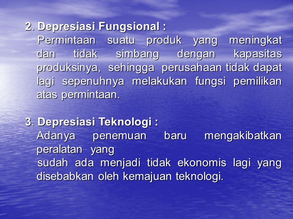 2. Depresiasi Fungsional : Permintaan suatu produk yang meningkat dan tidak simbang dengan kapasitas produksinya, sehingga perusahaan tidak dapat lagi
