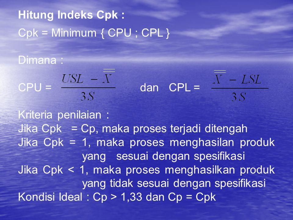 Hitung Indeks Cpk : Cpk = Minimum { CPU ; CPL } Dimana : CPU = dan CPL = Kriteria penilaian : Jika Cpk = Cp, maka proses terjadi ditengah Jika Cpk = 1