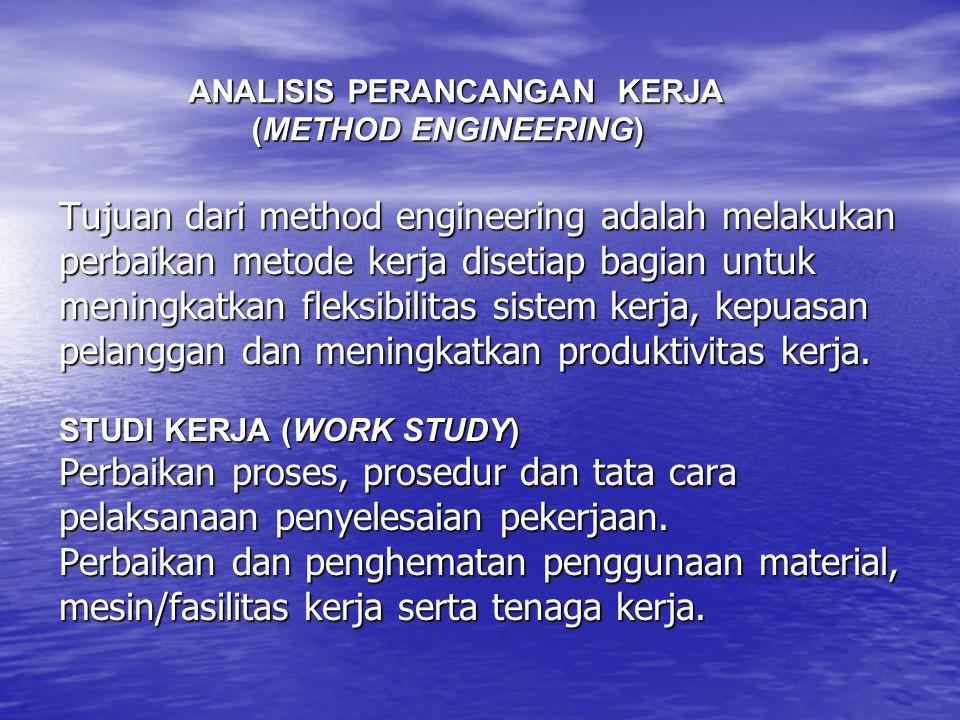 Tujuan dari method engineering adalah melakukan perbaikan metode kerja disetiap bagian untuk meningkatkan fleksibilitas sistem kerja, kepuasan pelangg