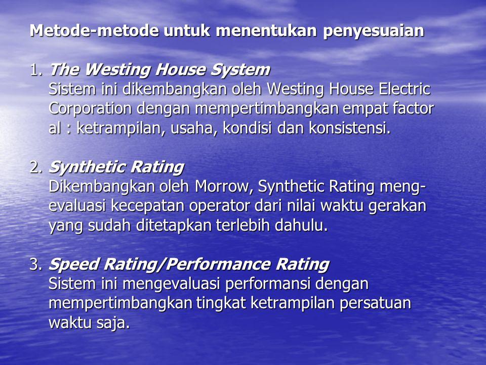 Metode-metode untuk menentukan penyesuaian 1. The Westing House System Sistem ini dikembangkan oleh Westing House Electric Corporation dengan memperti