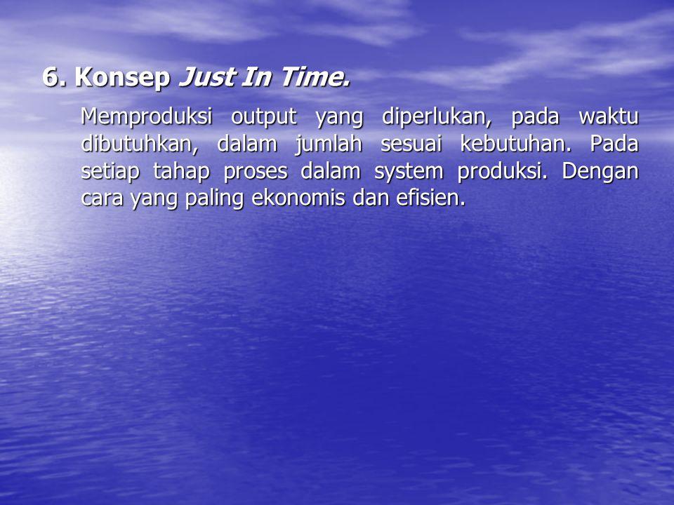 6. Konsep Just In Time. Memproduksi output yang diperlukan, pada waktu dibutuhkan, dalam jumlah sesuai kebutuhan. Pada setiap tahap proses dalam syste