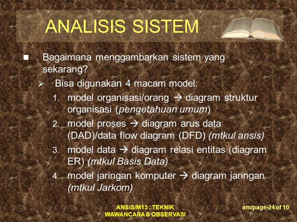 ANSIS/M13 : TEKNIK WAWANCARA & OBSERVASI am/page-24 of 10 ANALISIS SISTEM  Bagaimana menggambarkan sistem yang sekarang?  Bisa digunakan 4 macam mod