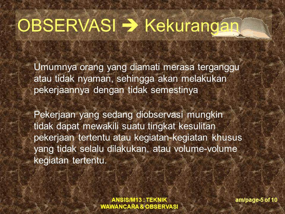 ANSIS/M13 : TEKNIK WAWANCARA & OBSERVASI am/page-26 of 10