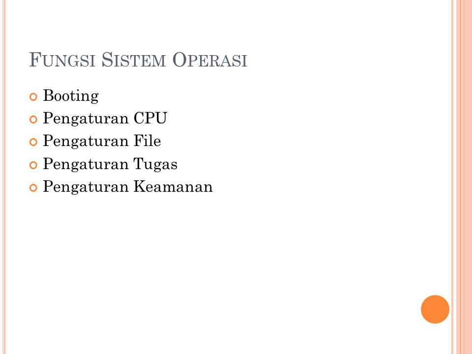 F UNGSI S ISTEM O PERASI Booting Pengaturan CPU Pengaturan File Pengaturan Tugas Pengaturan Keamanan