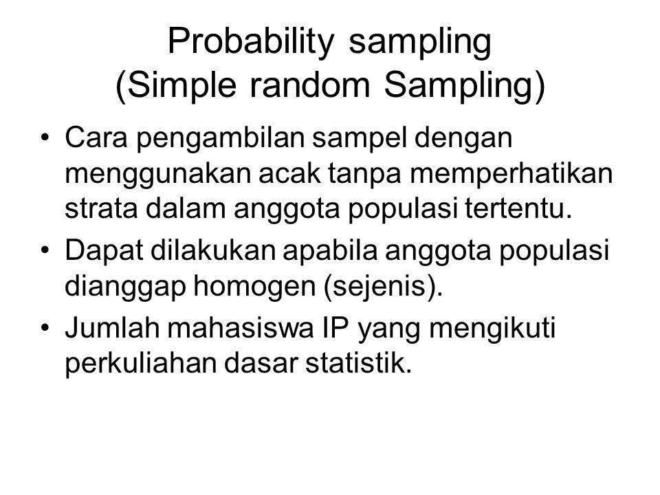 Probability sampling (Simple random Sampling) •Cara pengambilan sampel dengan menggunakan acak tanpa memperhatikan strata dalam anggota populasi terte