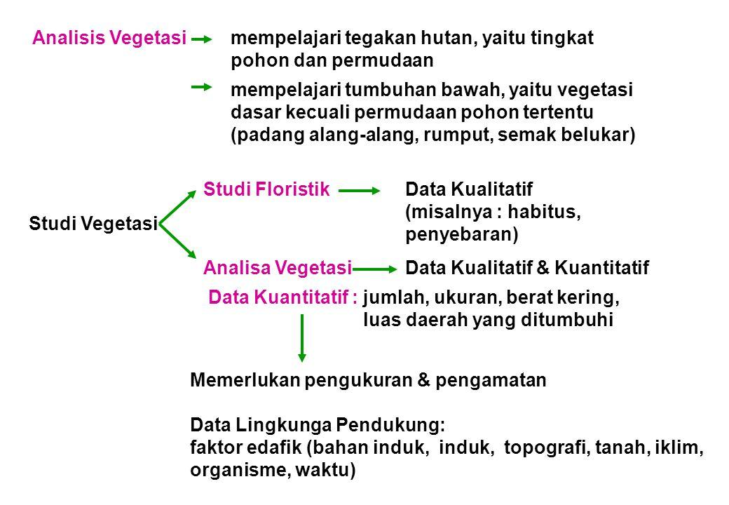 Analisis Vegetasimempelajari tegakan hutan, yaitu tingkat pohon dan permudaan mempelajari tumbuhan bawah, yaitu vegetasi dasar kecuali permudaan pohon tertentu (padang alang-alang, rumput, semak belukar) Studi Vegetasi Studi FloristikData Kualitatif (misalnya : habitus, penyebaran) Analisa VegetasiData Kualitatif & Kuantitatif Data Kuantitatif : jumlah, ukuran, berat kering, luas daerah yang ditumbuhi Memerlukan pengukuran & pengamatan Data Lingkunga Pendukung: faktor edafik (bahan induk, induk, topografi, tanah, iklim, organisme, waktu)