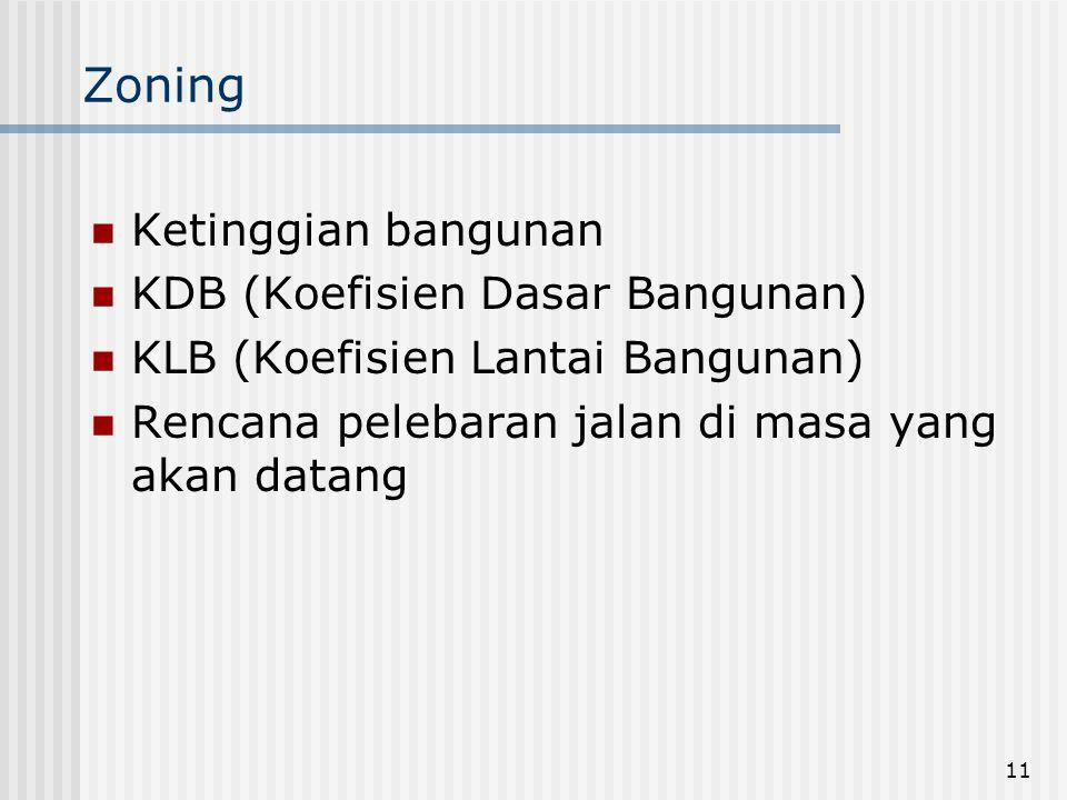 11 Zoning  Ketinggian bangunan  KDB (Koefisien Dasar Bangunan)  KLB (Koefisien Lantai Bangunan)  Rencana pelebaran jalan di masa yang akan datang