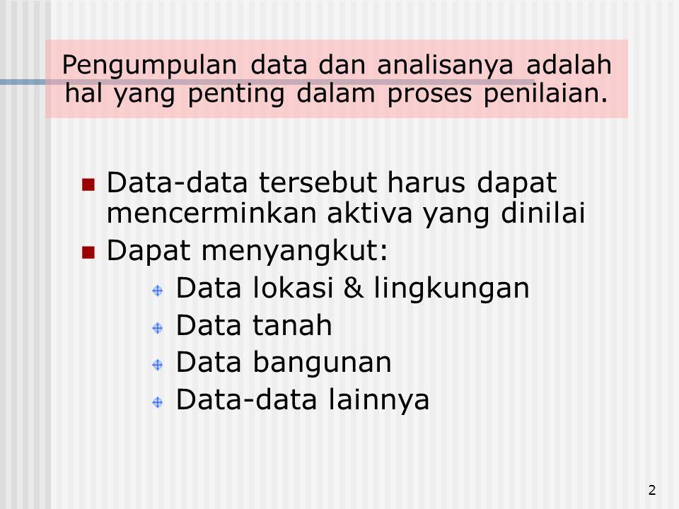 2  Data-data tersebut harus dapat mencerminkan aktiva yang dinilai  Dapat menyangkut: Data lokasi & lingkungan Data tanah Data bangunan Data-data lainnya Pengumpulan data dan analisanya adalah hal yang penting dalam proses penilaian.