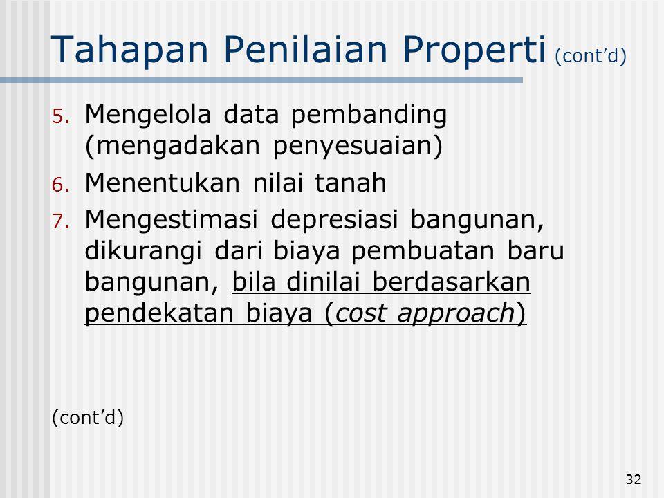 32 Tahapan Penilaian Properti (cont'd) 5.Mengelola data pembanding (mengadakan penyesuaian) 6.