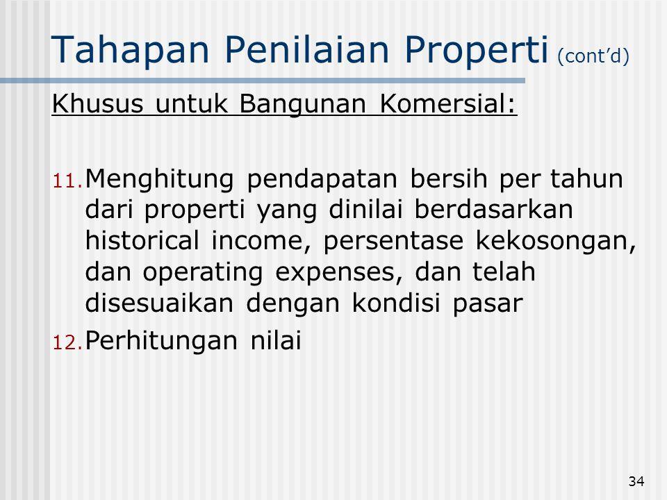 34 Tahapan Penilaian Properti (cont'd) Khusus untuk Bangunan Komersial: 11.