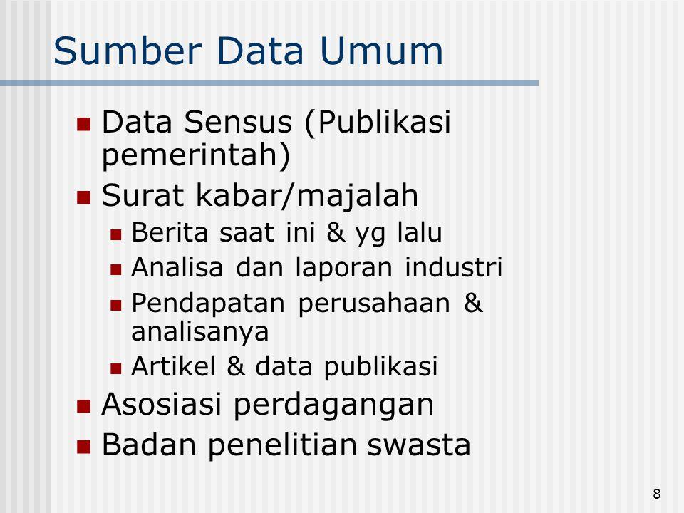 8 Sumber Data Umum  Data Sensus (Publikasi pemerintah)  Surat kabar/majalah  Berita saat ini & yg lalu  Analisa dan laporan industri  Pendapatan perusahaan & analisanya  Artikel & data publikasi  Asosiasi perdagangan  Badan penelitian swasta