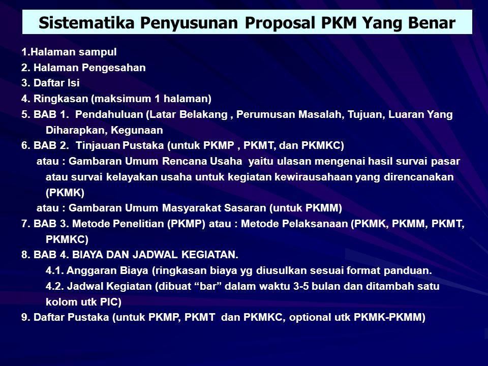 PINTU LOLOS PKM 1.Administratif 2.Teknis 3.Topik  Keterulangan Topik 4.Bidang PKM  Kesesuaian (dukungan ilmu, bidang tulisan) 5.Kreativitas 6.Kualit