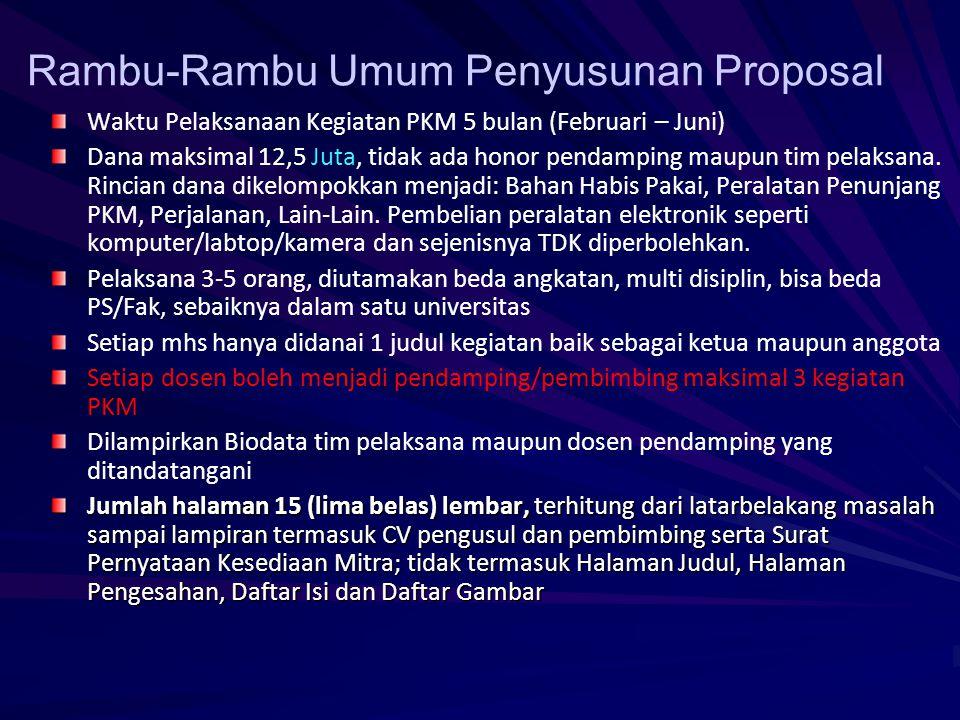 Daftar Riwayat Hidup Ketua, Anggota Pelaksana, dan Dosen Pendamping Gambaran teknologi yang akan diterapkembangkan (PKMT) Surat Pernyataan Kesediaan B