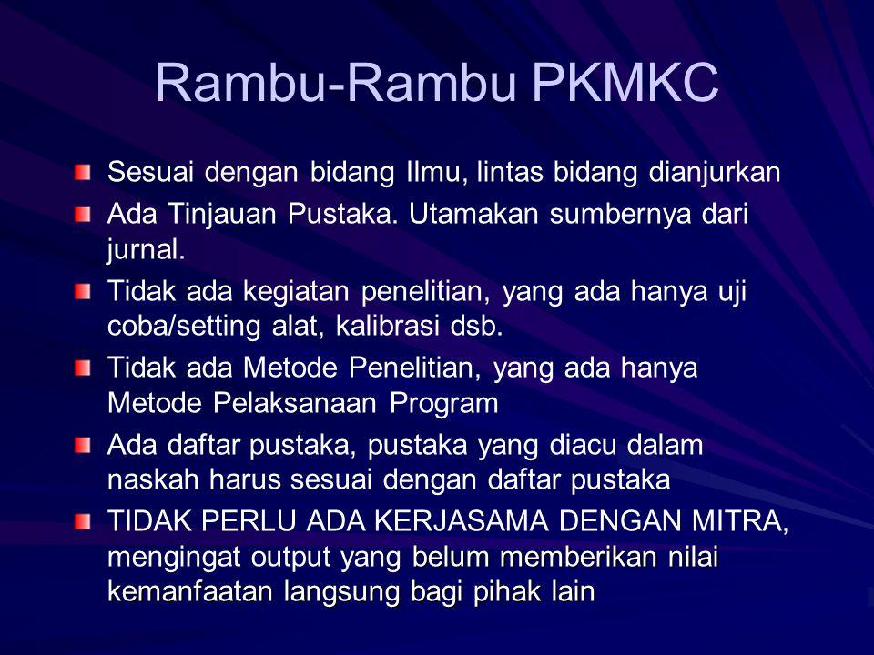 Rambu-Rambu PKMM Semua bidang Ilmu, atau bidang yang relevan TIM PKM berperan sebagai fasilitator Tidak ada Tinjauan Pustaka, sebagai gantinya: Gambar