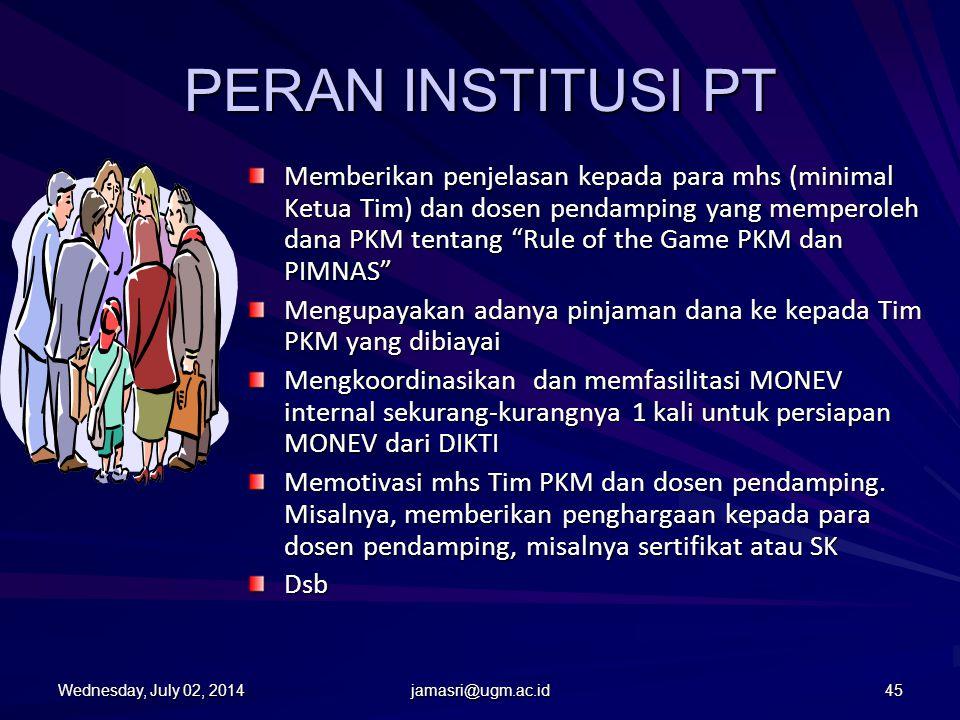 Peran Dosen Pendamping Mendampingi dan mengarahkan mhs agar PKM dilaksanakan sesuai dengan yang tertulis proposal. Membantu mhs agar mendapatkan akses