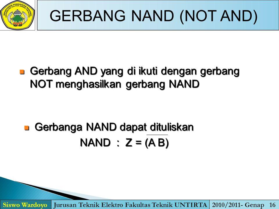GERBANG NAND (NOT AND) Siswo WardoyoJurusan Teknik Elektro Fakultas Teknik UNTIRTA2010/2011- Genap 16  Gerbang AND yang di ikuti dengan gerbang NOT m