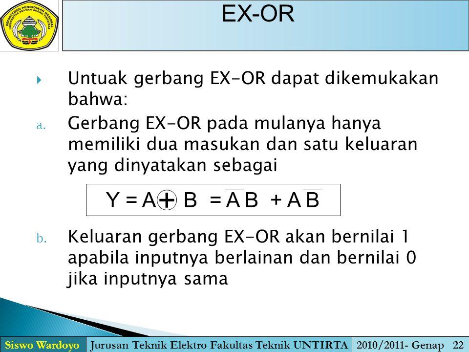 EX-OR Siswo WardoyoJurusan Teknik Elektro Fakultas Teknik UNTIRTA2010/2011- Genap 22  Untuak gerbang EX-OR dapat dikemukakan bahwa: a. Gerbang EX-OR