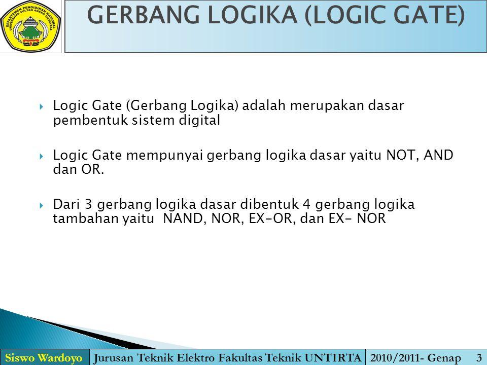 GERBANG LOGIKA (LOGIC GATE) Siswo WardoyoJurusan Teknik Elektro Fakultas Teknik UNTIRTA2010/2011- Genap 3  Logic Gate (Gerbang Logika) adalah merupak