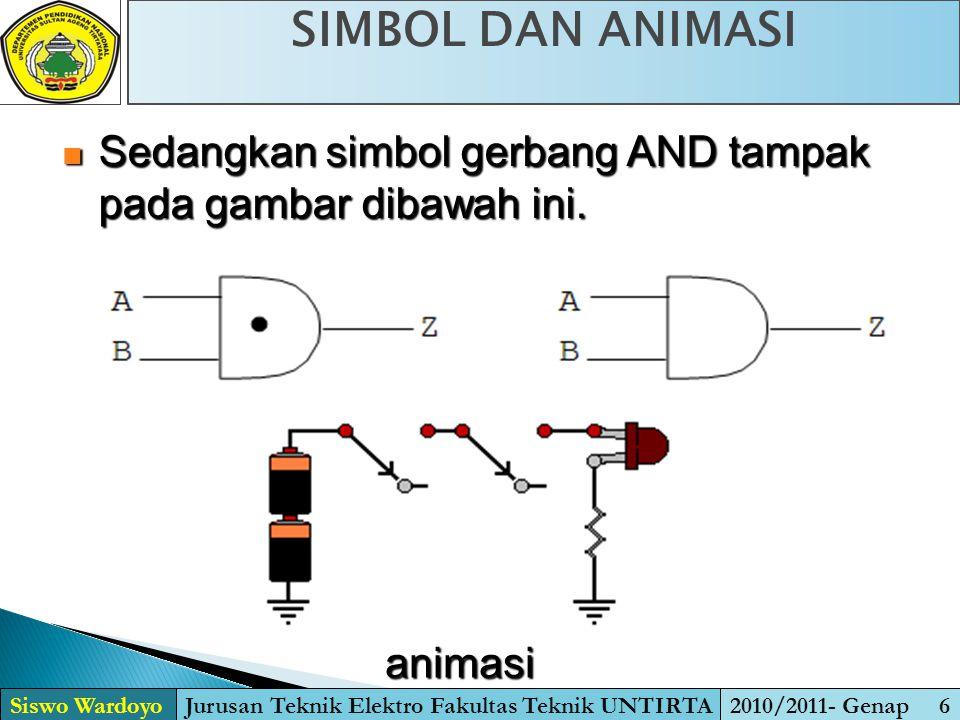 SIMBOL DAN TABEL KEBENARAN Siswo WardoyoJurusan Teknik Elektro Fakultas Teknik UNTIRTA2010/2011- Genap 17