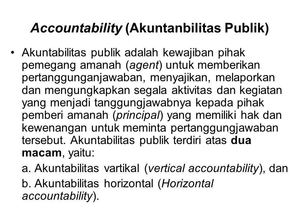 Accountability (Akuntanbilitas Publik) •Akuntabilitas publik adalah kewajiban pihak pemegang amanah (agent) untuk memberikan pertanggunganjawaban, men