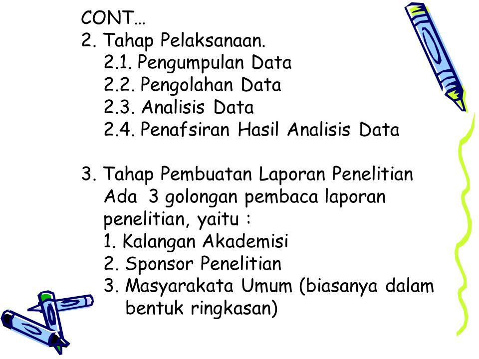 CONT… 2.Tahap Pelaksanaan. 2.1. Pengumpulan Data 2.2.