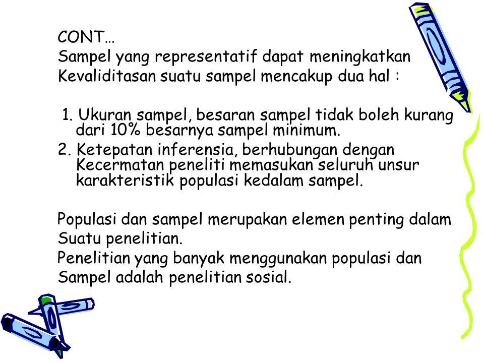 CONT… Sampel yang representatif dapat meningkatkan Kevaliditasan suatu sampel mencakup dua hal : 1.