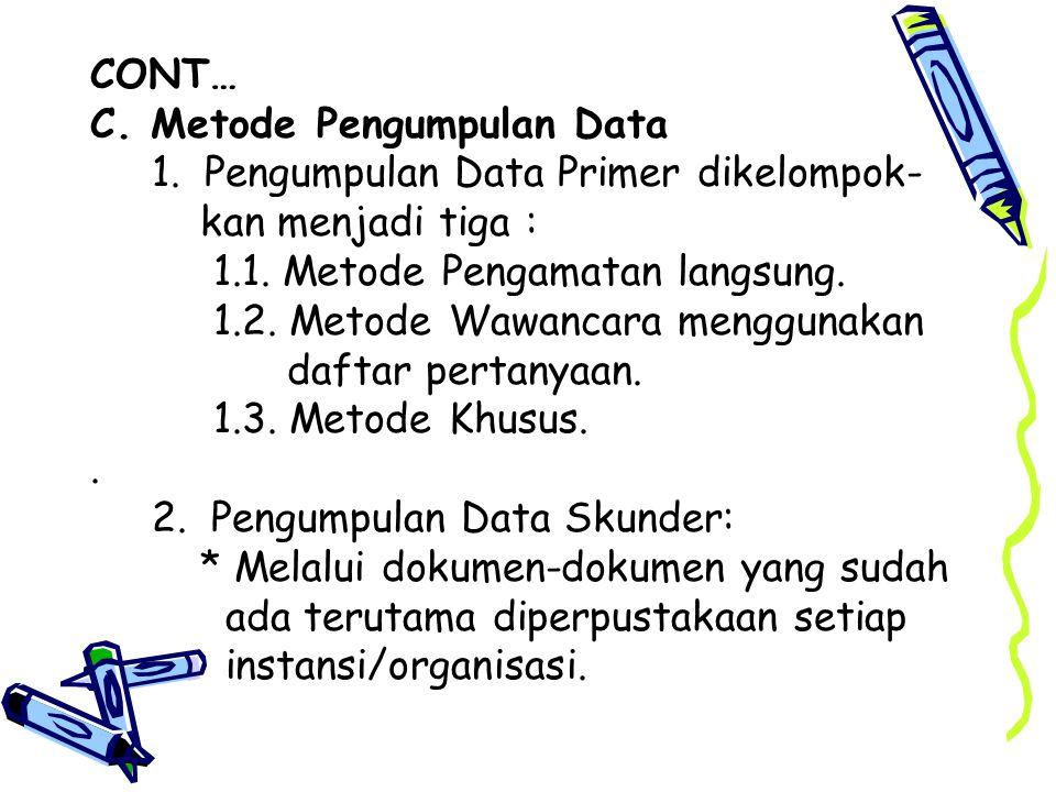 CONT… C.Metode Pengumpulan Data 1. Pengumpulan Data Primer dikelompok- kan menjadi tiga : 1.1.