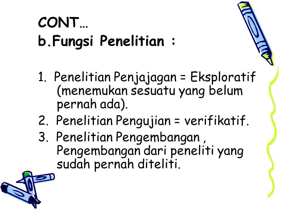 CONT… b.Fungsi Penelitian : 1.
