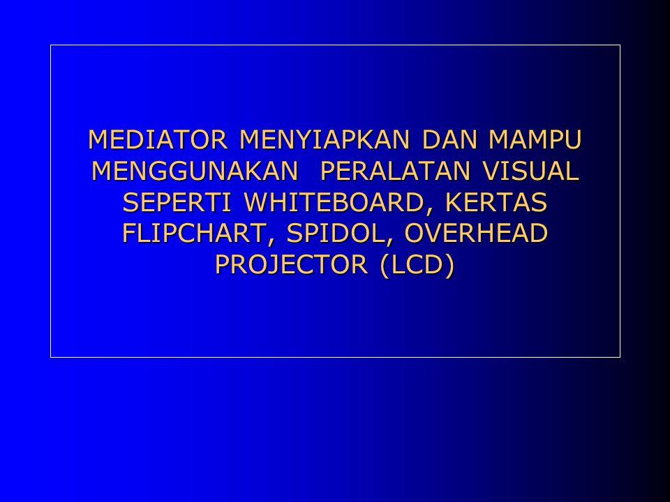 MEDIATOR MENYIAPKAN DAN MAMPU MENGGUNAKAN PERALATAN VISUAL SEPERTI WHITEBOARD, KERTAS FLIPCHART, SPIDOL, OVERHEAD PROJECTOR (LCD)