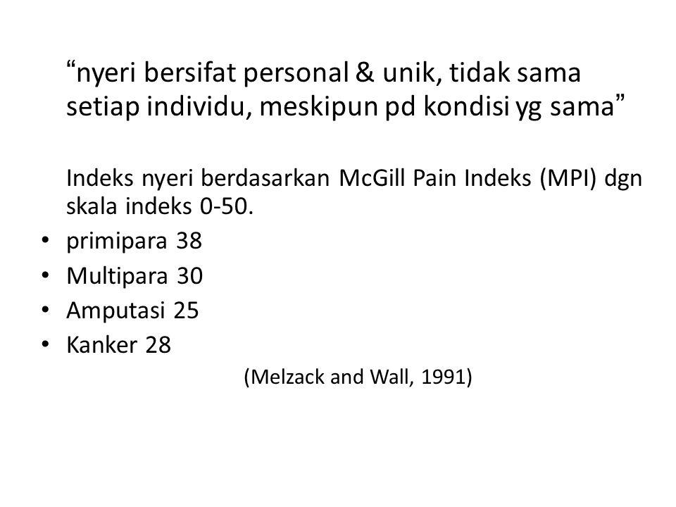"""""""nyeri bersifat personal & unik, tidak sama setiap individu, meskipun pd kondisi yg sama"""" Indeks nyeri berdasarkan McGill Pain Indeks (MPI) dgn skala"""