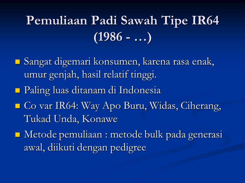 Pemuliaan Padi Sawah Tipe IR64 (1986 - …)  Sangat digemari konsumen, karena rasa enak, umur genjah, hasil relatif tinggi.  Paling luas ditanam di In