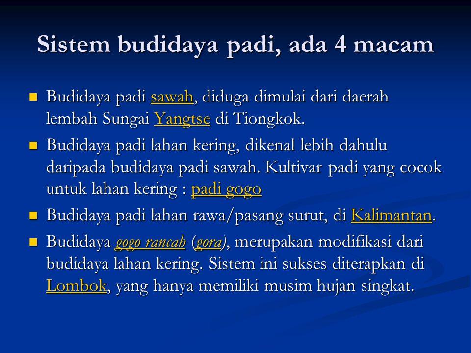 Sistem budidaya padi, ada 4 macam  Budidaya padi sawah, diduga dimulai dari daerah lembah Sungai Yangtse di Tiongkok. sawahYangtsesawahYangtse  Budi