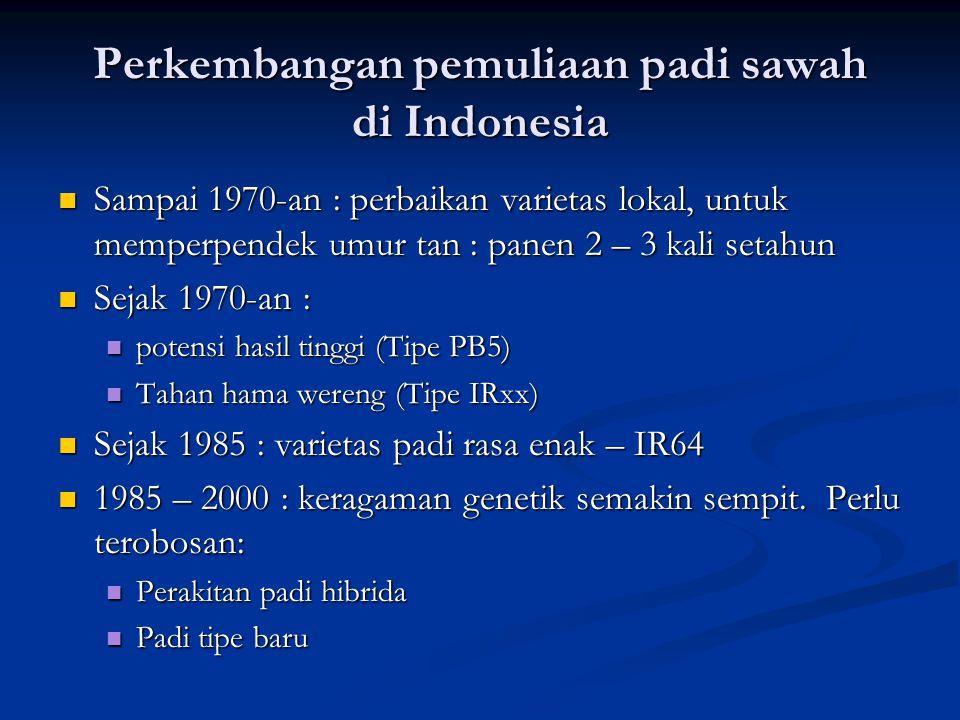 Perkembangan pemuliaan padi sawah di Indonesia  Sampai 1970-an : perbaikan varietas lokal, untuk memperpendek umur tan : panen 2 – 3 kali setahun  S