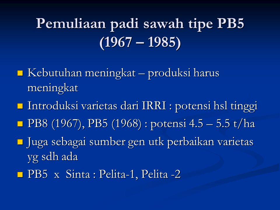 Pemuliaan padi sawah tipe PB5 (1967 – 1985)  Kebutuhan meningkat – produksi harus meningkat  Introduksi varietas dari IRRI : potensi hsl tinggi  PB