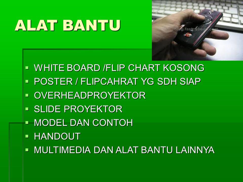 ALAT BANTU  WHITE BOARD /FLIP CHART KOSONG  POSTER / FLIPCAHRAT YG SDH SIAP  OVERHEADPROYEKTOR  SLIDE PROYEKTOR  MODEL DAN CONTOH  HANDOUT  MULTIMEDIA DAN ALAT BANTU LAINNYA