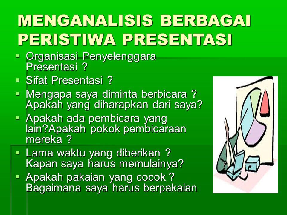 MENGANALISIS BERBAGAI PERISTIWA PRESENTASI  Organisasi Penyelenggara Presentasi .