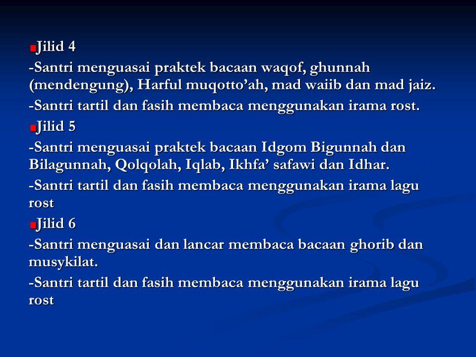 Jilid 4 -Santri menguasai praktek bacaan waqof, ghunnah (mendengung), Harful muqotto'ah, mad waiib dan mad jaiz. -Santri tartil dan fasih membaca meng