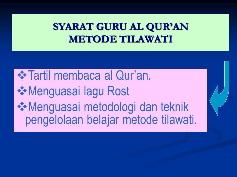 SYARAT GURU AL QUR'AN METODE TILAWATI   Tartil membaca al Qur'an.   Menguasai lagu Rost   Menguasai metodologi dan teknik pengelolaan belajar me