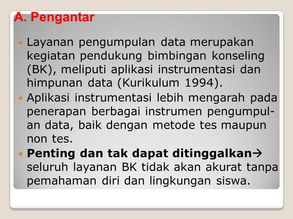  Layanan pengumpulan data merupakan kegiatan pendukung bimbingan konseling (BK), meliputi aplikasi instrumentasi dan himpunan data (Kurikulum 1994).