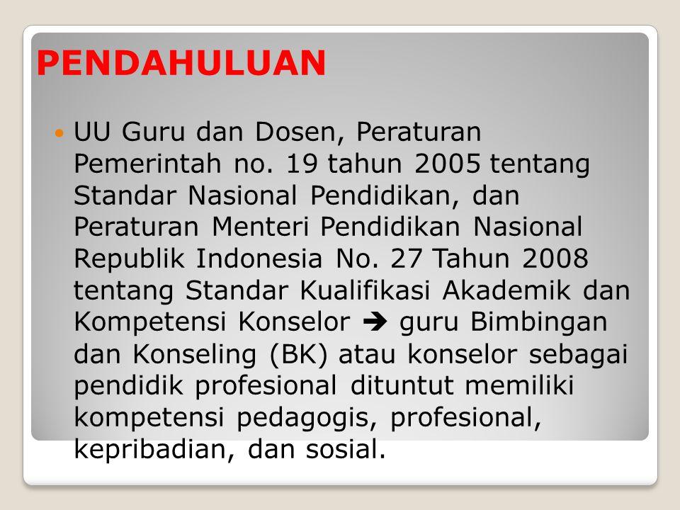 PENDAHULUAN  UU Guru dan Dosen, Peraturan Pemerintah no. 19 tahun 2005 tentang Standar Nasional Pendidikan, dan Peraturan Menteri Pendidikan Nasional