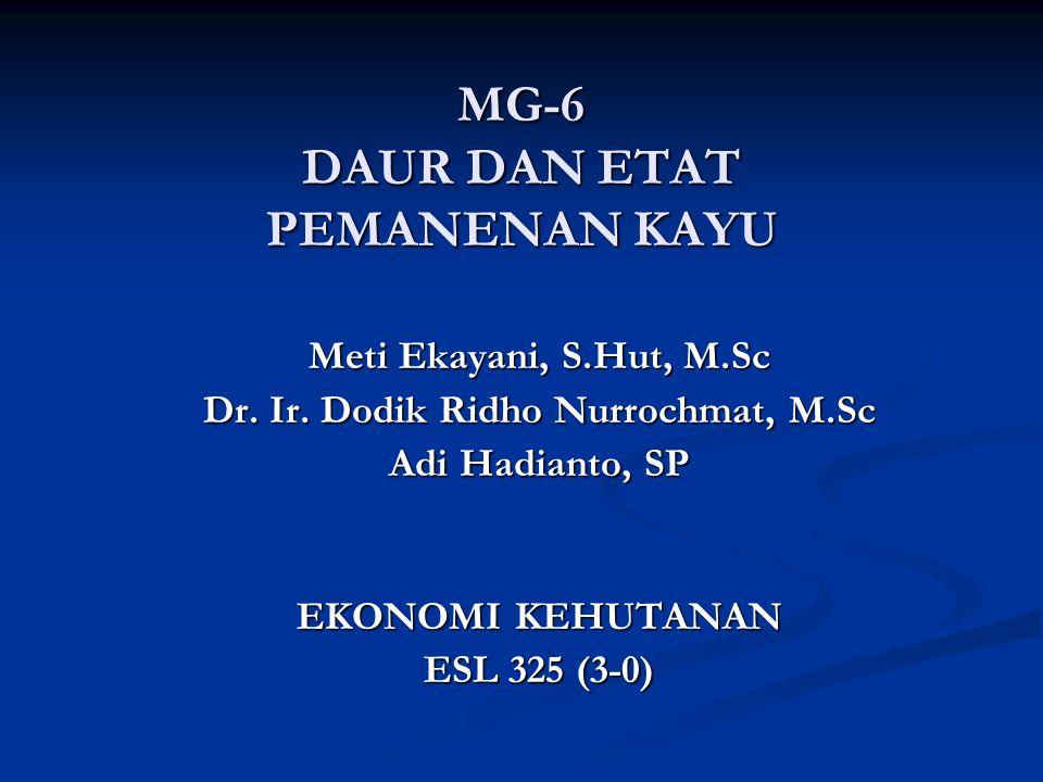 MG-6 DAUR DAN ETAT PEMANENAN KAYU Meti Ekayani, S.Hut, M.Sc Dr.