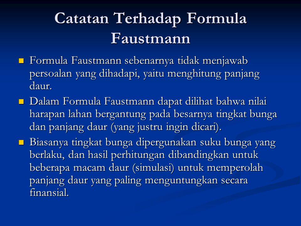 Catatan Terhadap Formula Faustmann  Formula Faustmann sebenarnya tidak menjawab persoalan yang dihadapi, yaitu menghitung panjang daur.