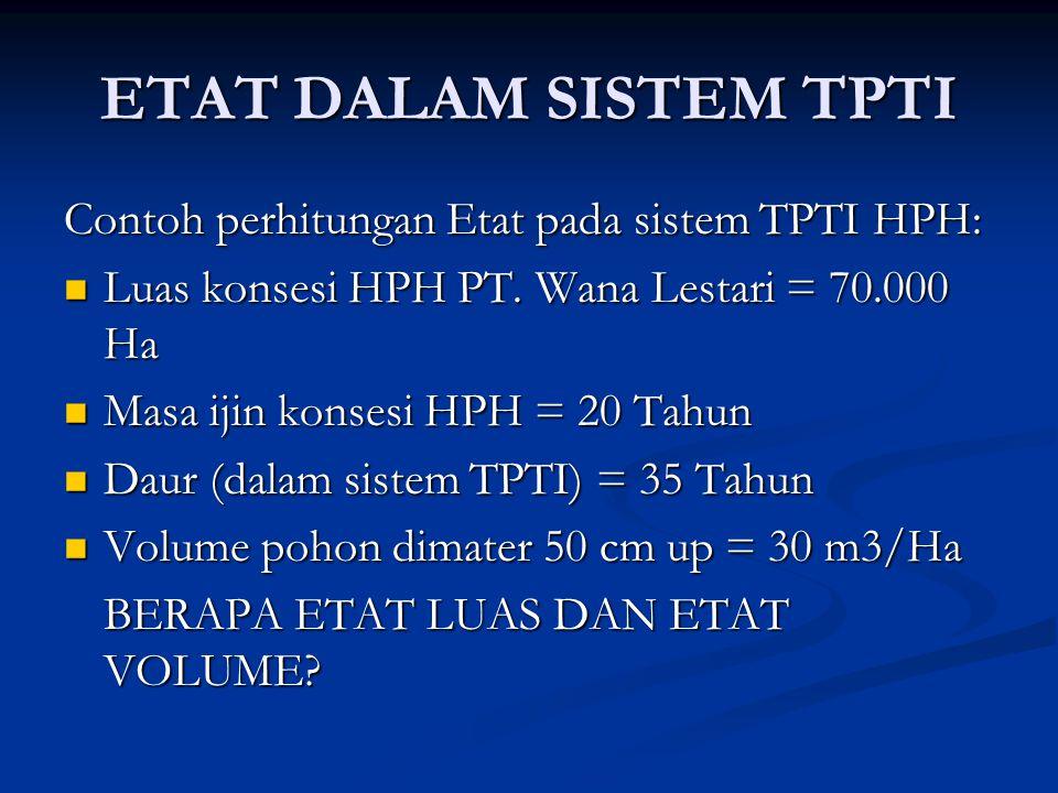 ETAT DALAM SISTEM TPTI Contoh perhitungan Etat pada sistem TPTI HPH:  Luas konsesi HPH PT.